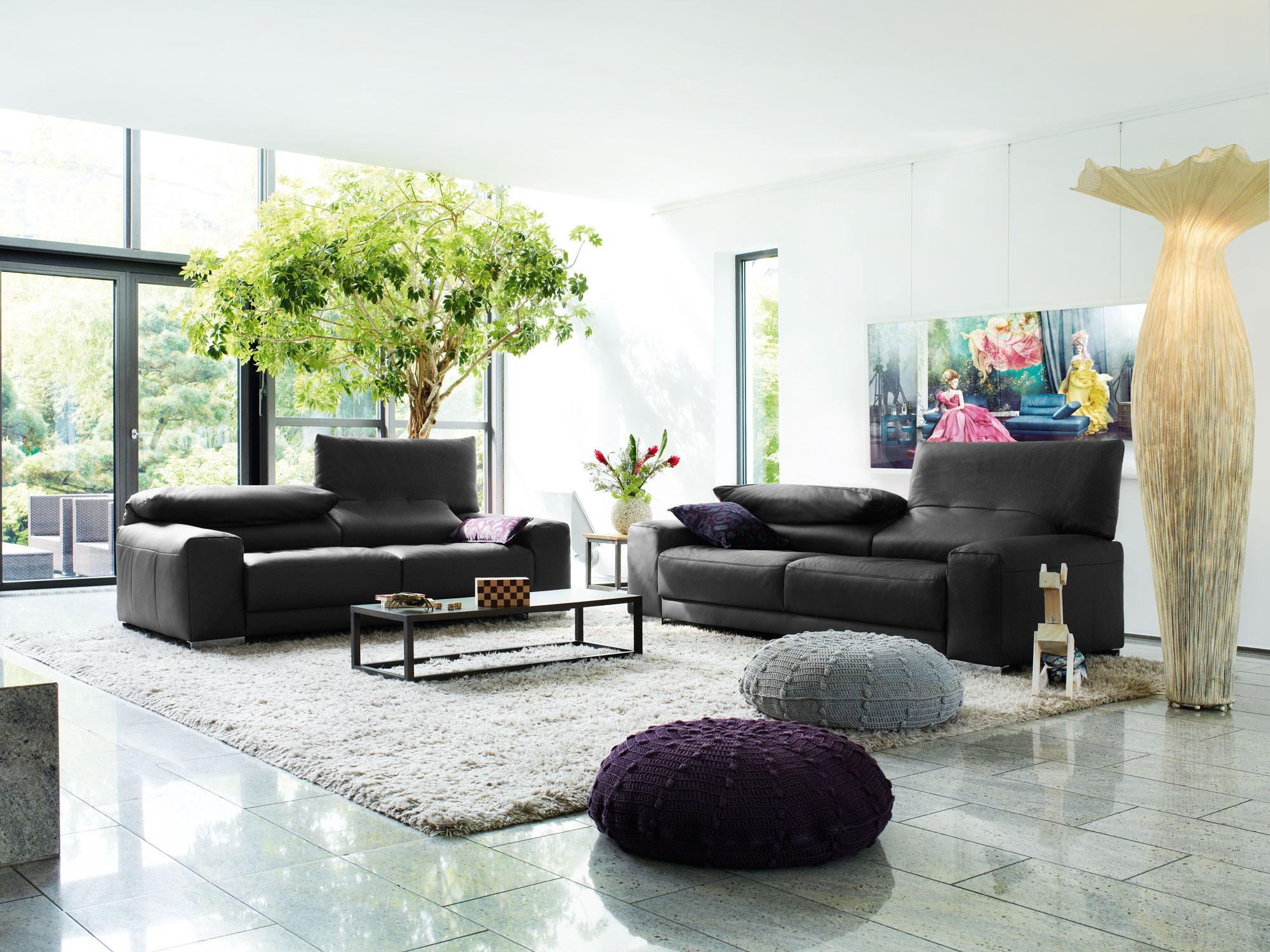 Schwarzes Ledersofa moderne sofas kieppe