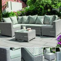 Lounge Garnitur aus Geflecht für Garten und Außenbereich - Loungegruppe aus Kunststoffgeflech - Sonnenbänke statt Sonnenliegen