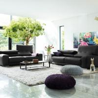 schwarzes Ledersofa modern - E.Schi - Polstermöbel - Sofa kaufen