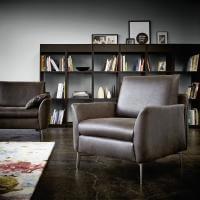 Sessel Liege Sofa Füße Metall Leder Echt Braun Glatt Bequem Ausruhen Entspannen Relaxen Chillen Sitzen Schlafen Einfach